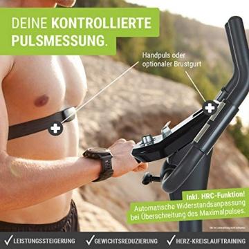 HAMMER Ergometer Cardio XT6 BT, leises Fitnessfahrrad mit tiefem Einstieg und Comfort-Sattel, 13 kg Schwungmassensystem, Bluetooth & App-Steuerung, 130 kg Benutzergewicht, 93 x 51 x 150 cm - 6