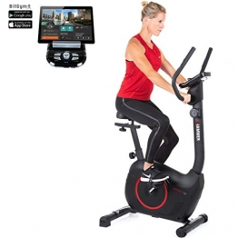 HAMMER Heimtrainer Cardio T3, geringer Einstiegs-Widerstand, besonders leises Fitnessfahrrad, Comfort-Sattel, geeignet als Heimtrainer für Senioren, Tablethalterung, 90 x 46 x 137 cm - 1