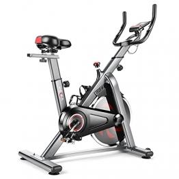 HEKA Heimtrainer Fahrrad, Spinning Bike Indoor, Hometrainer mit 13 kg Schwungrad, Fitnessbikes Mit Magnetwiderstand, superleise, Riemenantrieb, Pulssensor, LCD-Monitor, Ergometer, max 150 kg (Grau) - 1