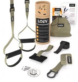 LOEV Schlingentrainer für zuhause & unterwegs - umfangreiches Sling Trainer Set für Krafttraining & Home Workout - mit Deckenhalterung, Türanker & Fitness-Poster - 1